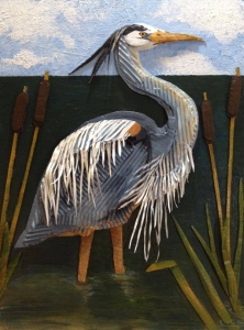 great blue heron cardboard art