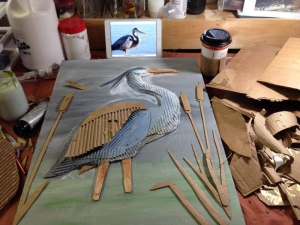great blue heron in progress