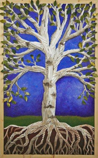 birch tree corrugated upcycled art