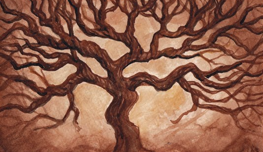 oak tree watercolor painting